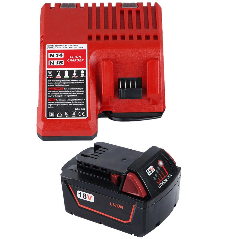 3000mAh 18V Li-Ion batterier + Lader for MILWAUKEE M18 48-59-1812 1840