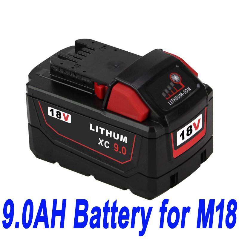 18V 9.0Ah For Milwaukee M18 M18B4 48-11-1828 Red Lithium Ion XC 9.0 kompatibelt batterier